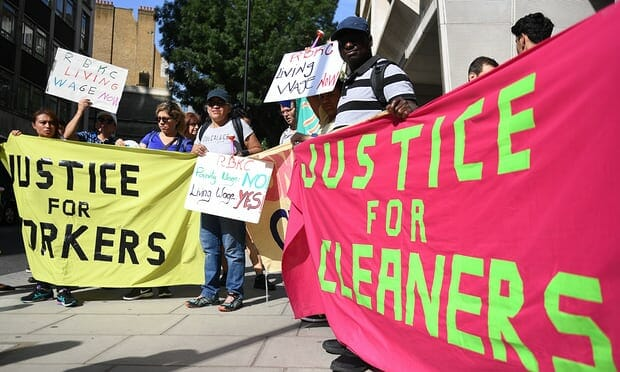 Cleaners go on strike in London as a result of low pay - Justice for Cleaners