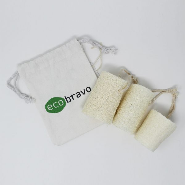 3 Pack Natural Loofah Sponges with Reusable Bag